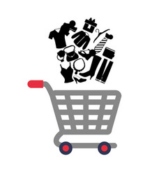 shopping cart with clothes vector image