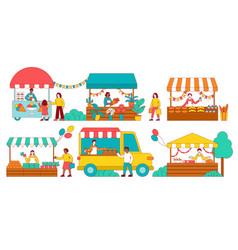 Six colorful scenes a stalls at a fair vector