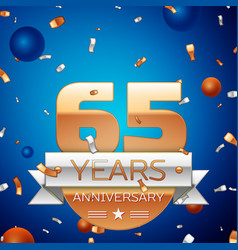 Sixty five years anniversary celebration design vector