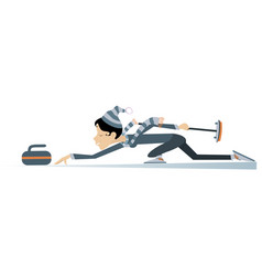 Smiling young woman plays curling isolated vector