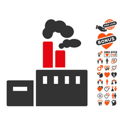 smoking factory icon with valentine bonus vector image