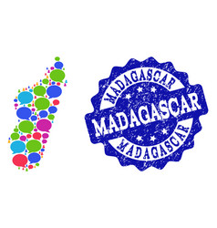 Social network map of madagascar island with chat vector