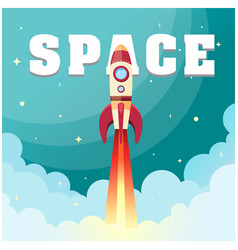 space rocket launch in space background ima vector image