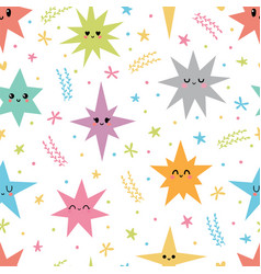 sweet seamless pattern with colorful smiley stars vector image
