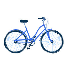 The blue bicycle drawn in vector