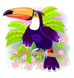 Toucan exotic bird living tropical vector