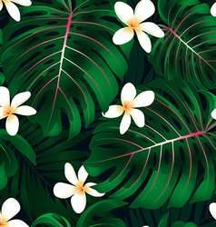 Tropical Monstera floral seamless pattern vector