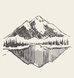 Two mountains spruce forest and lake sketch vector