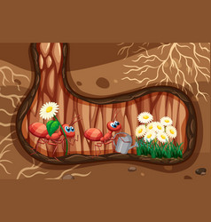 Underground scene with ants watering plants vector