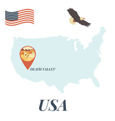 usa map with death valley pin travel concept vector image