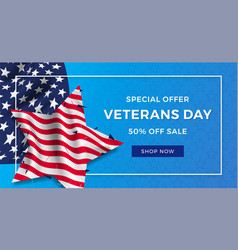 Veterans day advertising banner ad realistic flag vector