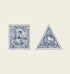 vintage postage stamp for album ancient vector image