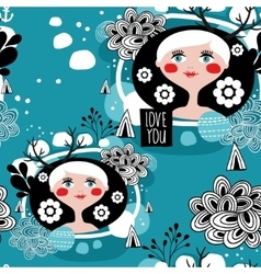 White hair scandinavian girl seamless pattern vector