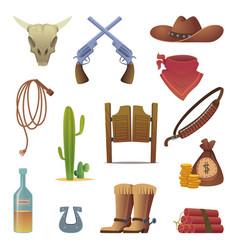 Wild west icon cowboys country western symbols vector