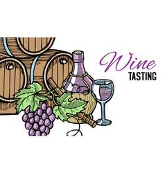 wine barrel hand drawn with grape vines around vector image