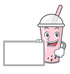 with board raspberry bubble tea character cartoon vector image
