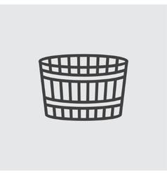 Wooden bucket icon vector