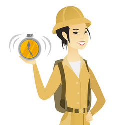 young asian traveler holding alarm clock vector image