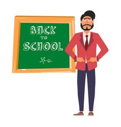 Young strict school teacher school teacher vector
