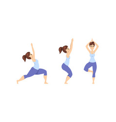 young woman practicing yoga set slim girl in vector image