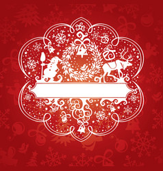 Abstract cute ornate christmas card vector