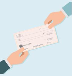 businessman hand giving blank bank checks or vector image vector image