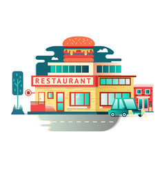 Restaurant building flat design vector image vector image