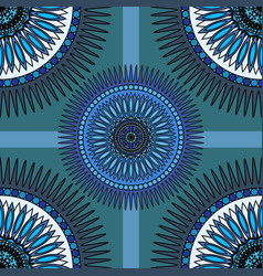 Seamless blue pattern with oriental mandalas vector image vector image