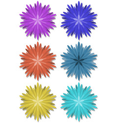 set of simple flower shapes in different colors vector image vector image
