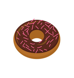 chocolate donut isolated baking sweets on white vector image