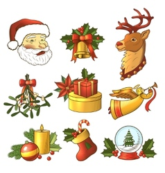Christmas icons colored set vector image vector image