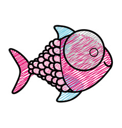 color pencil drawing of fish with big eye and vector image vector image