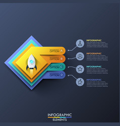 infographic design template with 4 squared layers vector image vector image