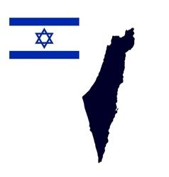 Israel map painted in the color of the flag vector image