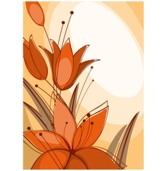 postcard with lilies vector image vector image