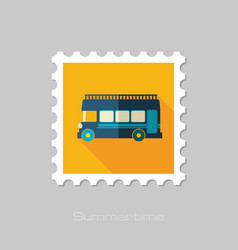 Double decker open top sightseeing city bus stamp vector
