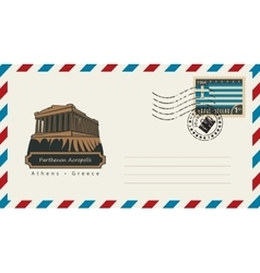 envelope with a postage stamp with Parthenon vector image vector image