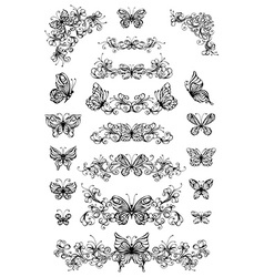 floral patterns with butterflies vector image