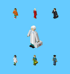 Isometric person set of female doctor lady and vector