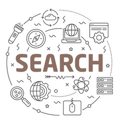 line flat circle search vector image