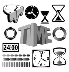 time icons and signs vector image vector image