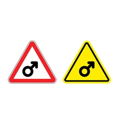 Warning sign mans attention yellow danger man male vector image