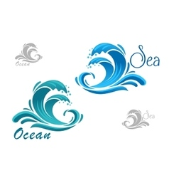 Blue sea waves icon with water splash vector image vector image