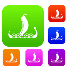 medieval boat set collection vector image vector image