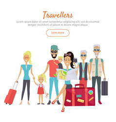 travelers of different age with suitcases banner vector image vector image