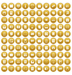 100 document icons set gold vector