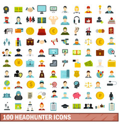 100 headhunter icons set flat style vector