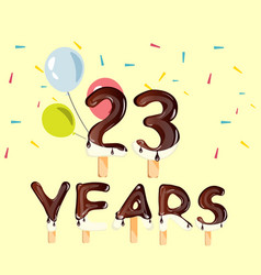 23 years birthday design for greeting cards vector image