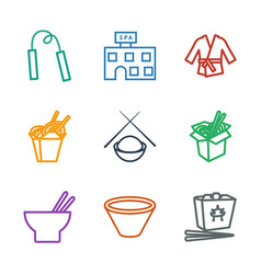 9 asian icons vector