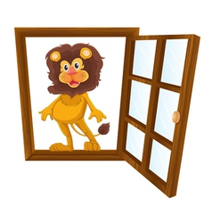 A lion in a window vector